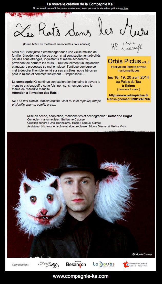 """Newsletter du spectacle """"les rats dans les murs"""""""